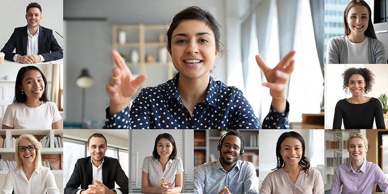 picture of an online meeting with a woman presenting to a team