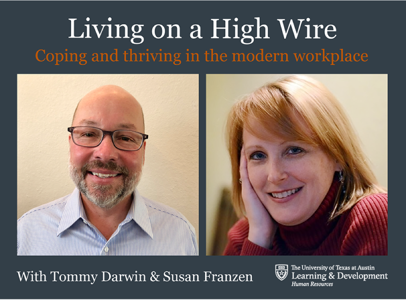 Living on a High Wire Course promo piece with photo of Tommy Darwin and Susan Franzen