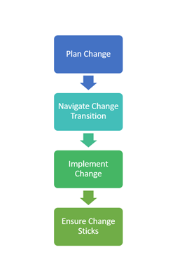 plan change - navigate change transition - implement change - ensure change sticks