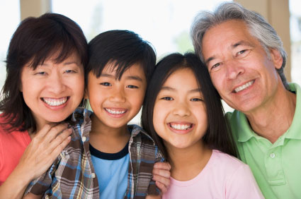 picture of asian family boy and girl with mom and dad