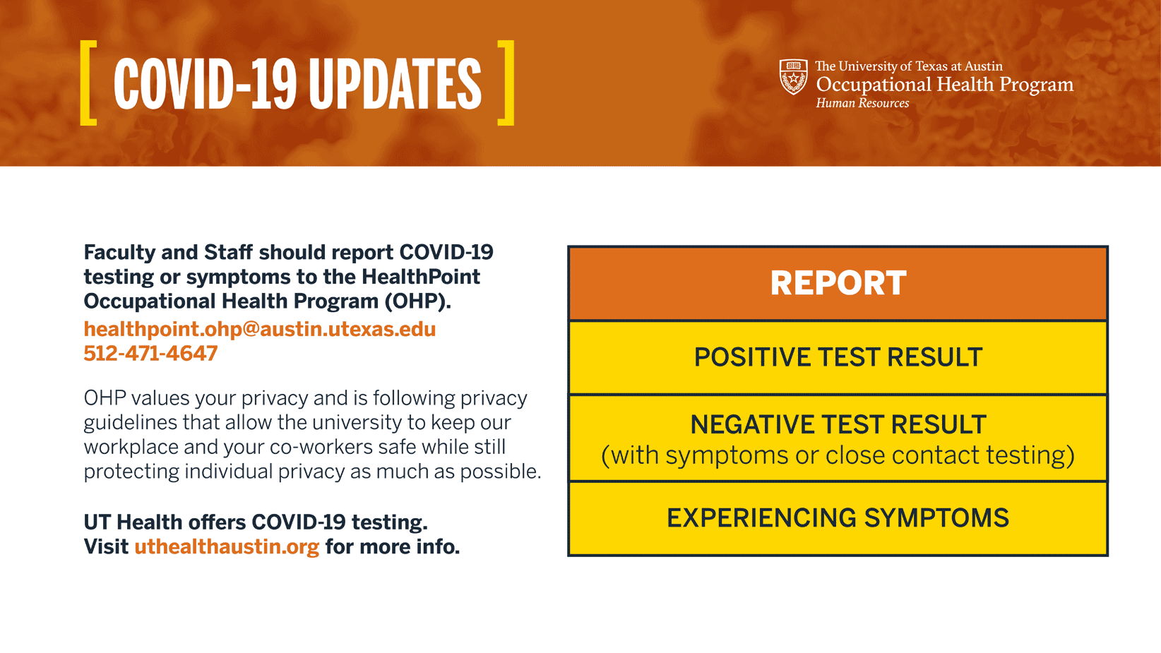 OHP COVID-19 testing report results graphic