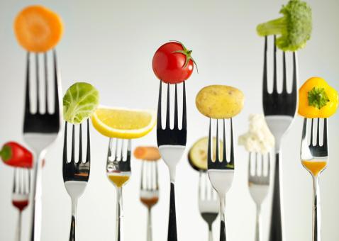 picture of vegetables on forks